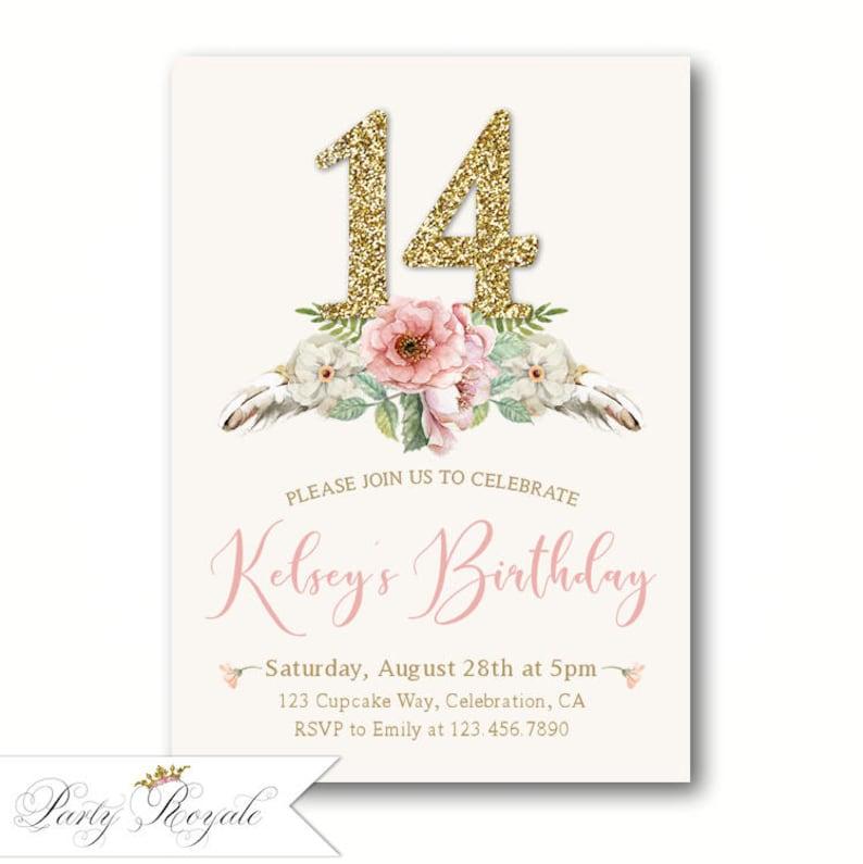 Elegant 14th Birthday Invitations Teen Girl S Birthday Etsy