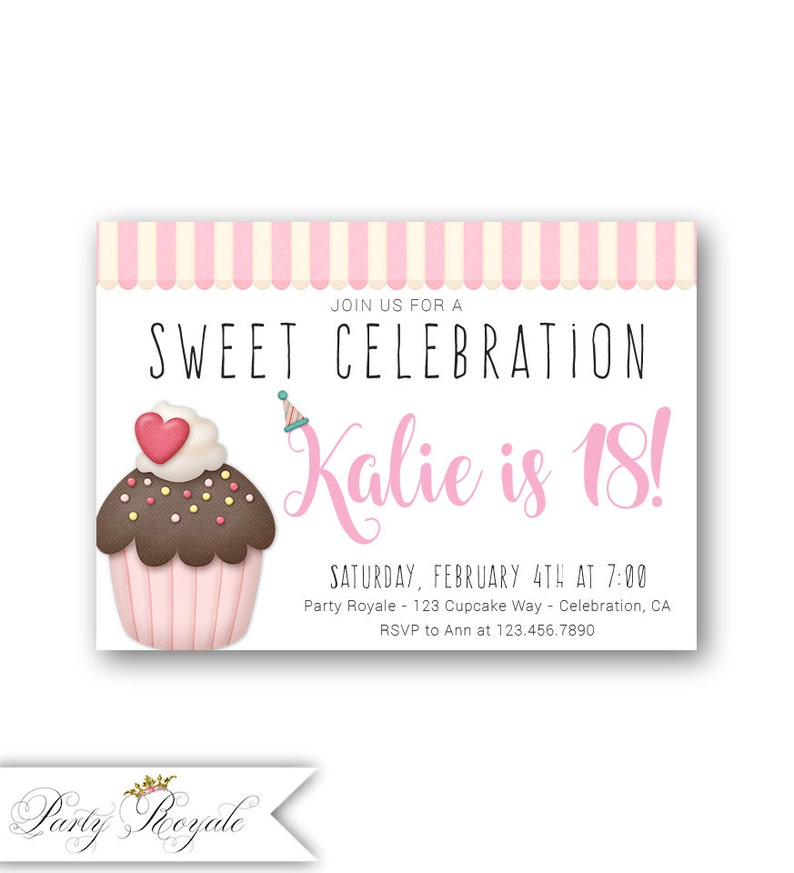 Cupcake 18th Birthday Invitations 18 Years Old For Teen