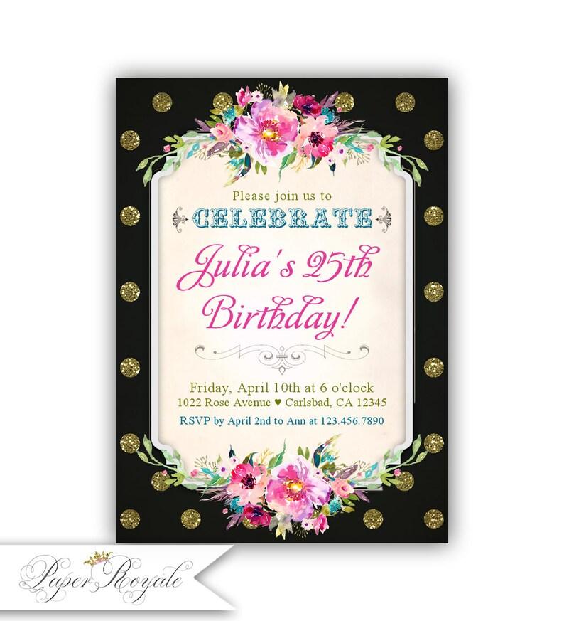 25th Birthday Invitation