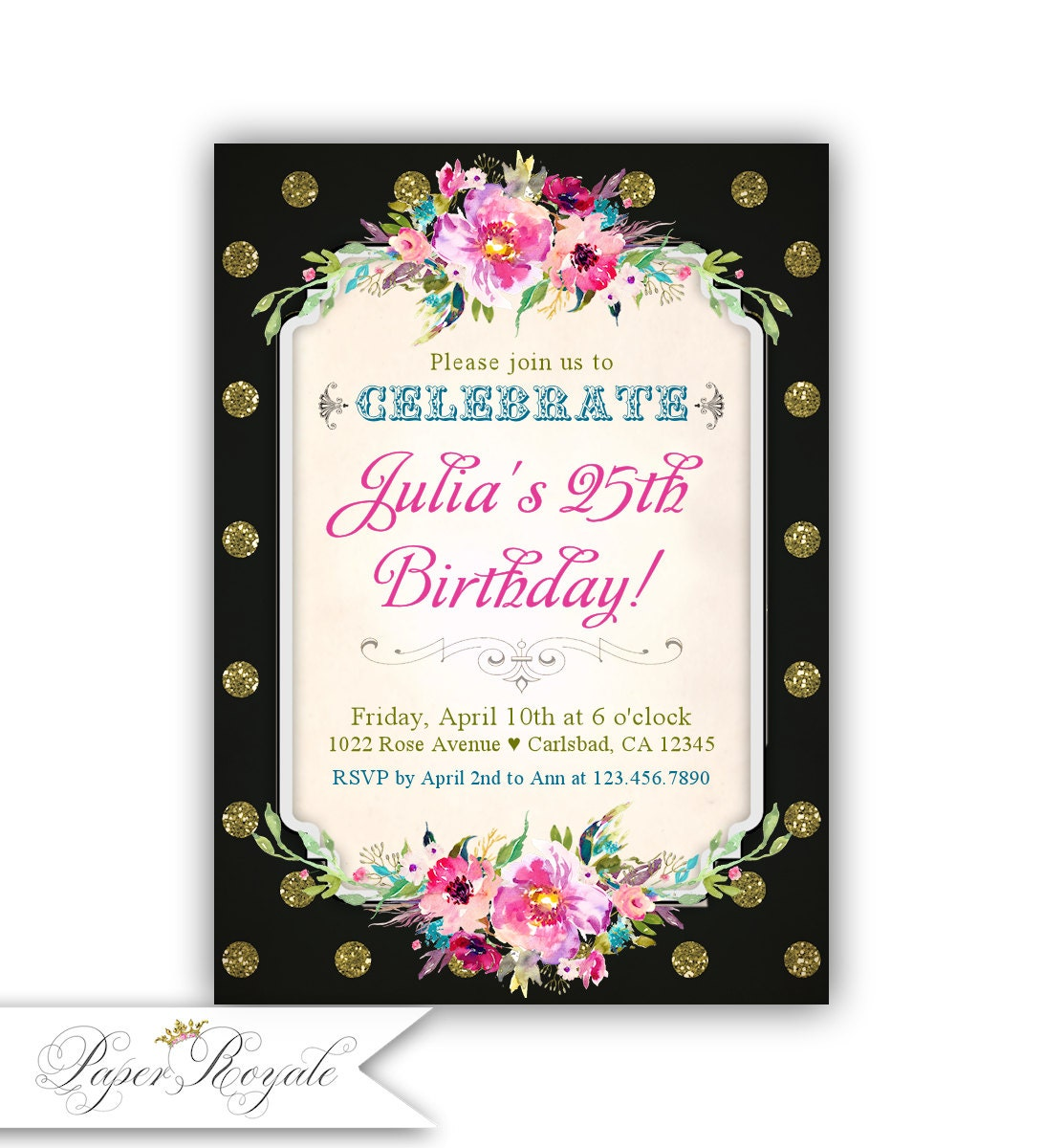 25th Birthday Invitation Adult Party