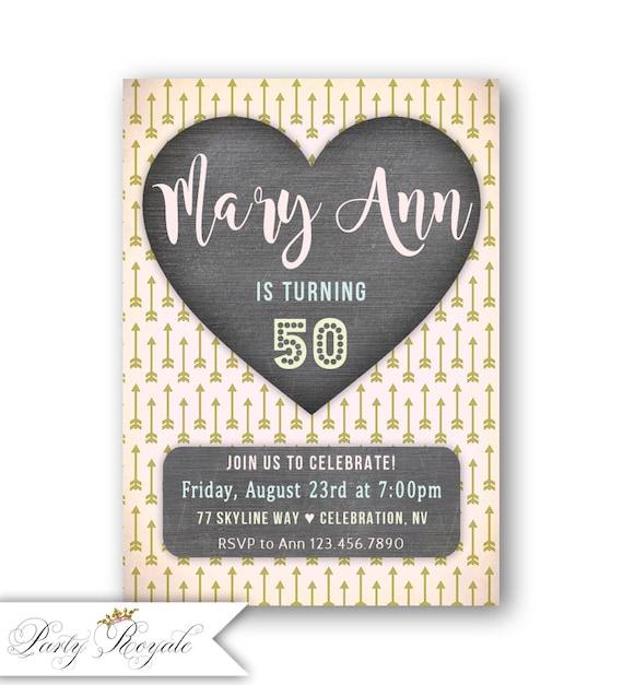 Corazón Invitaciones De Cumpleaños 50 Años O Cualquier Edad Boho Cumpleaños Fiesta Invitación Imprimible O Impreso Fiesta De Cumpleaños Temática