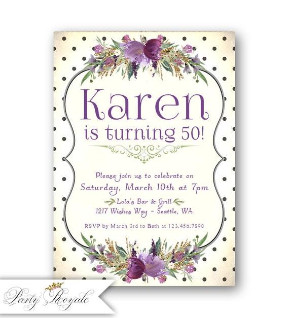 Purple 50th Birthday Invitations And Gold Printable