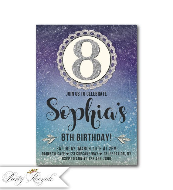 Printable 8th Birthday Invitations Girl Or Printed