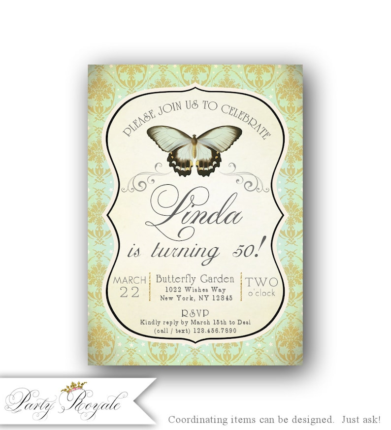 50th Birthday Invitation Butterfly Female Any Age Shabby Chic Printable
