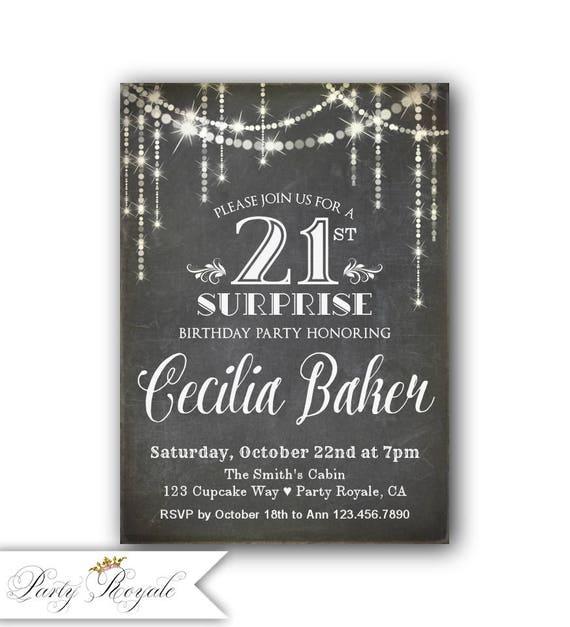Chalkboard 21st Surprise Birthday Party Invitation