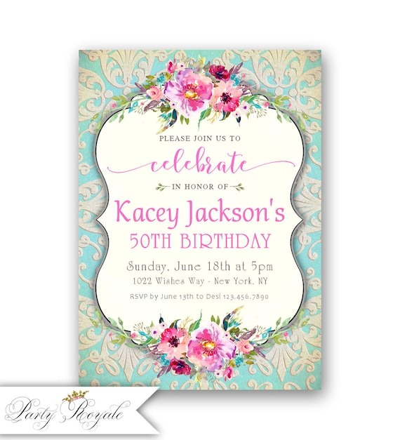 Printable 50th Birthday Invitations Womens