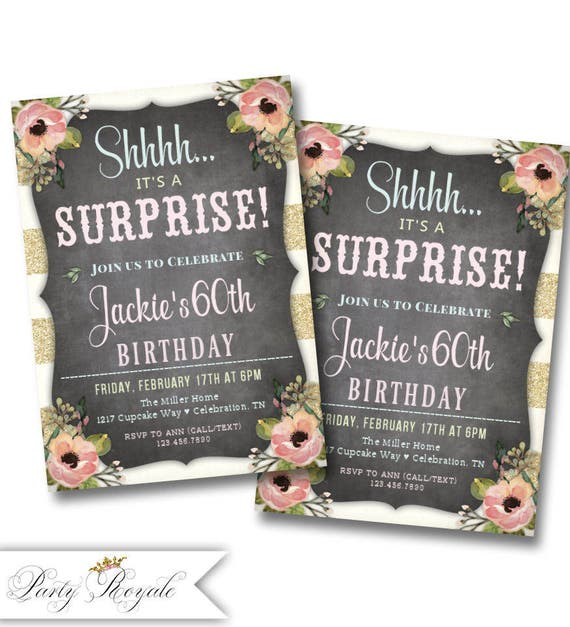 60th Surprise Birthday Invitations 60th Birthday Party For A Etsy