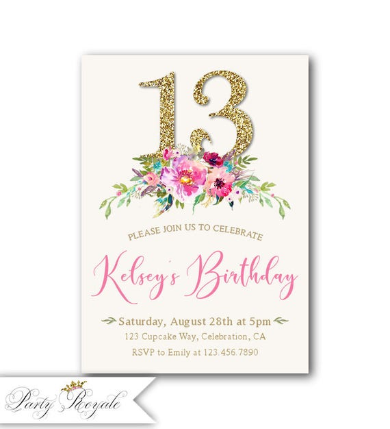 13th Birthday Invitation Girl Boho Invitations For Teens Gold Glitter 13 Birthay Party Invites Printable Or Printed