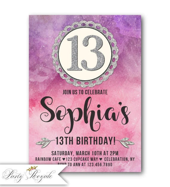 Colorful 13th Birthday Invitation Teen Girl 13th Birthday Etsy