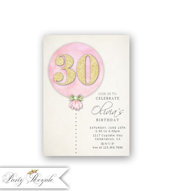 Pink Gold 30th Birthday Invitations For Her Adult