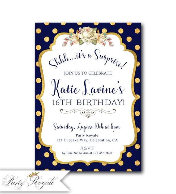 Surprise 16th Birthday Invitations Teen Party