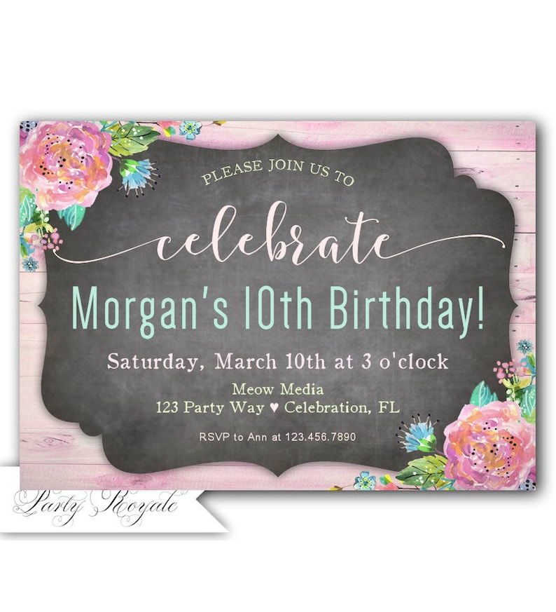 10th Birthday Invitation Girl Invite Printable Party Invitations OR Printed Girls
