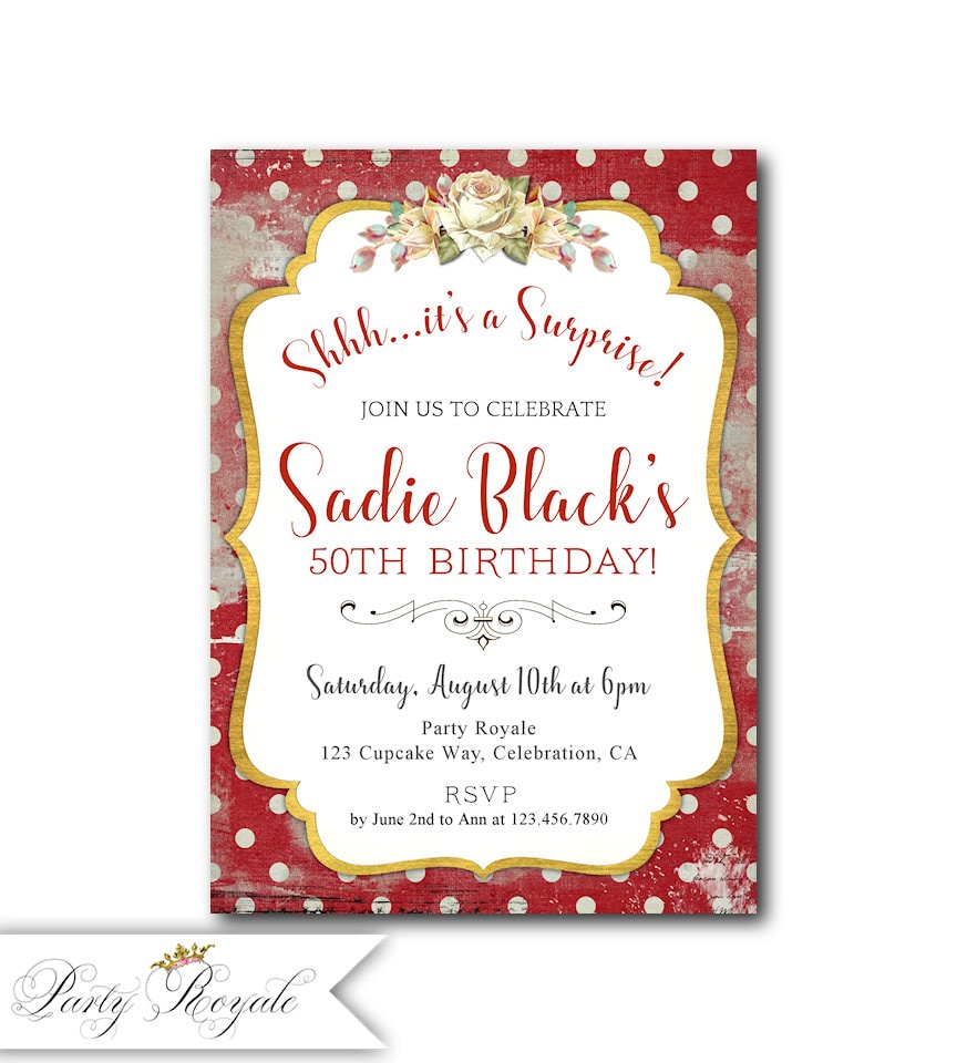 Red Surprise Party Invitations Women\'s Surprise Birthday | Etsy