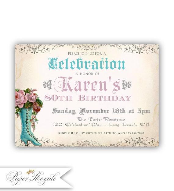 Elegant 80th Birthday Invitation 80 Years Old Party