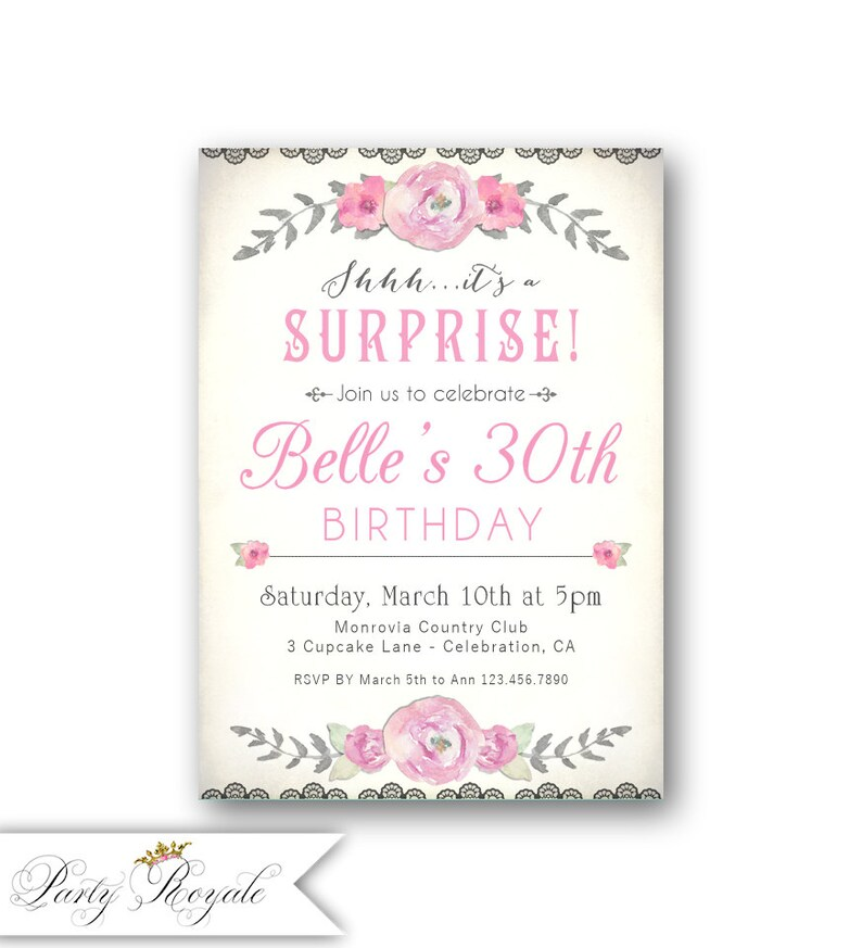SURPRISE 30th Birthday Invitations For Her Womens