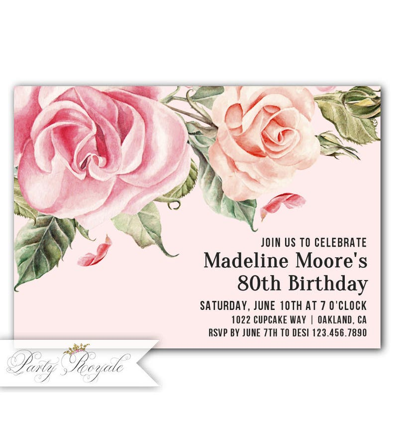 Vintage Roses 80th Birthday Invitation Formal