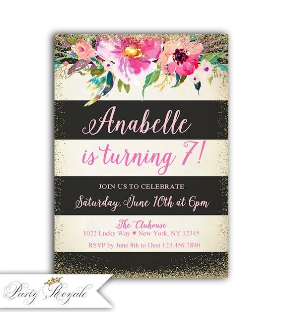 Girls 7th Birthday Invitation Invites