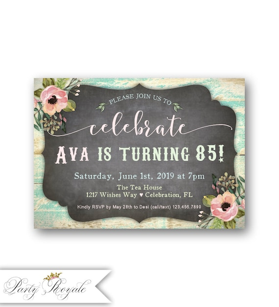 Womens 85th Birthday Party Invitations Any Age