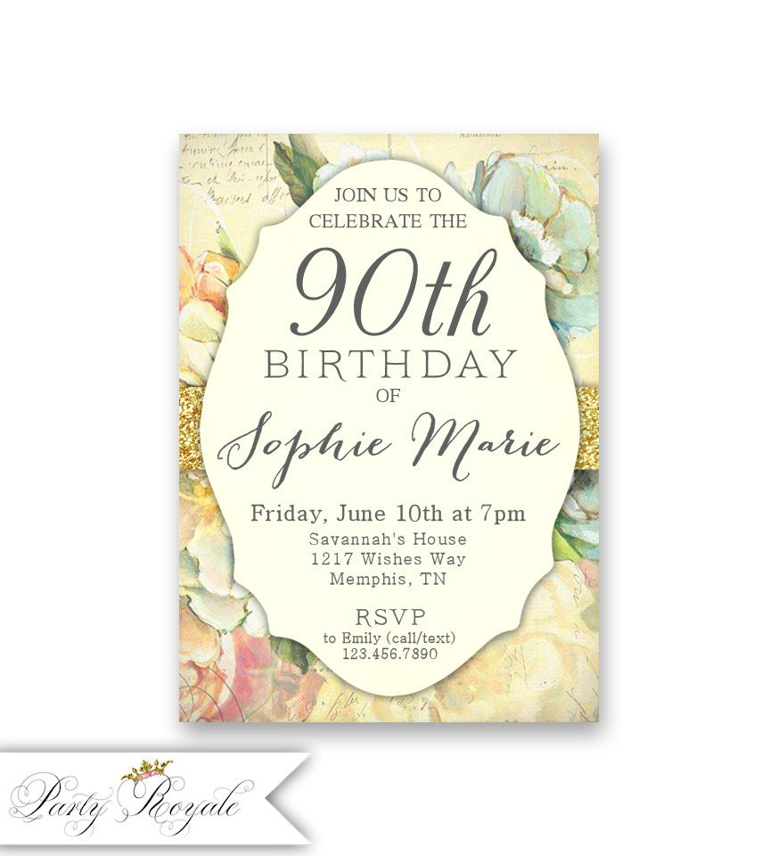 Printable 90th Birthday Invitation for Women or Printed | Etsy