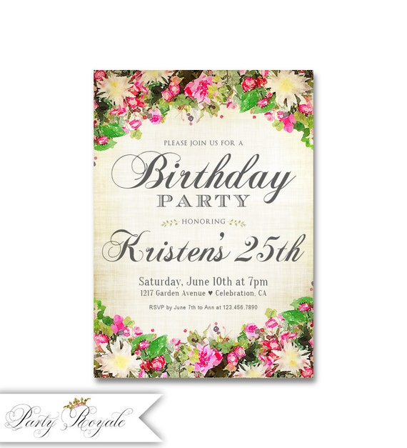 Vintage 25th Birthday Invitations For Women Garden Party