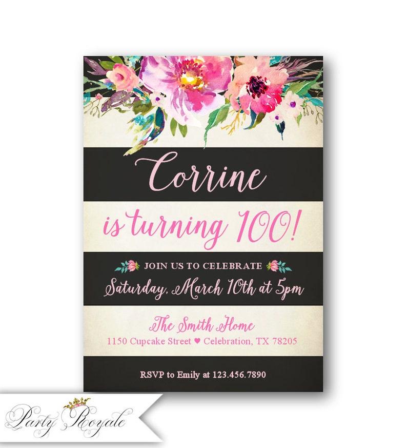 Womens 100th Birthday Invitations 50th 60th