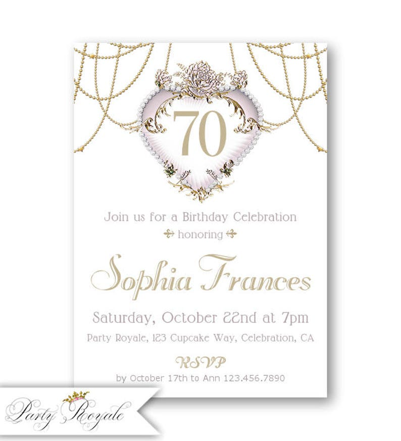 Printed Or Printable 70th Birthday Invitation For Women Etsy