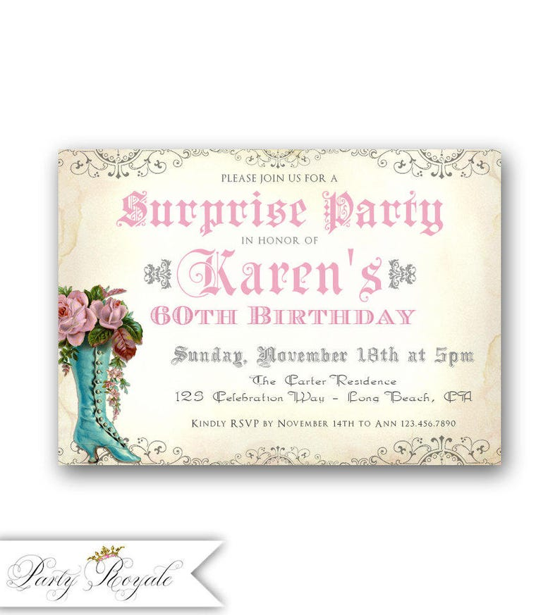 Elegant Surprise Party Invitations 60th Surprise Birthday Etsy
