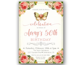 Turning 50 invite Etsy
