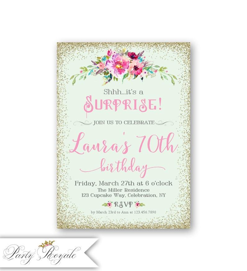Surprise 70th Birthday Invitations Womens