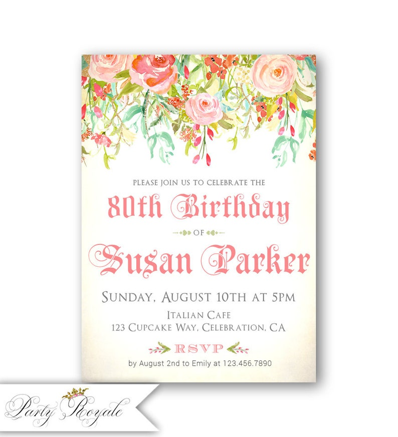 Floral 80th Birthday Invitations Party For A Woman 80 Years Old Any Age Dinner Brunch Or Lunch