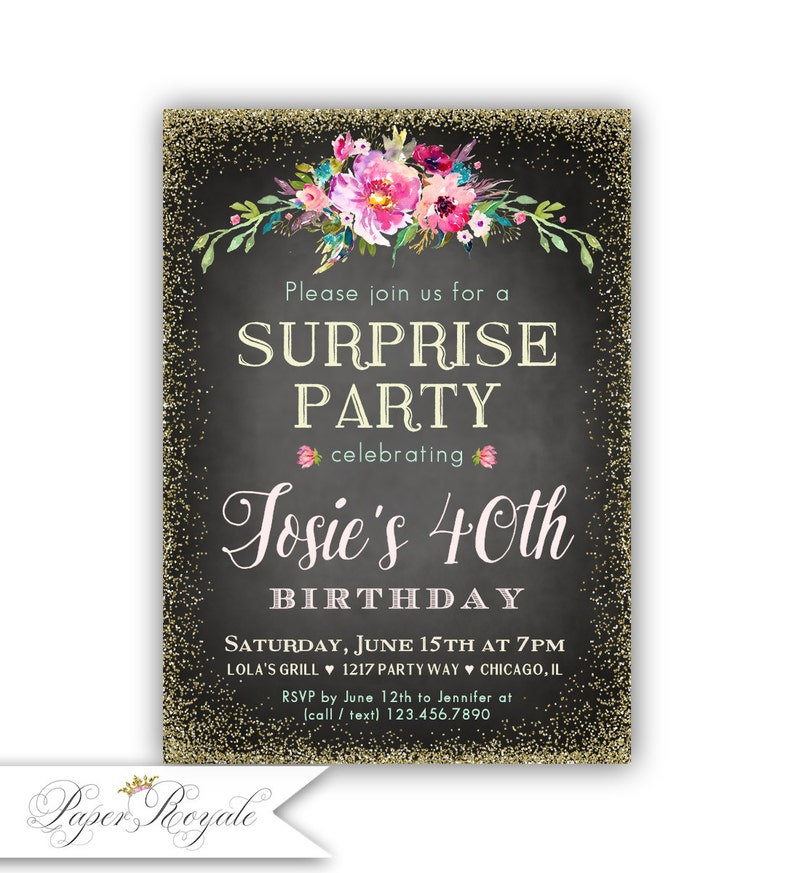 Personalized Surprise 40th Birthday Invitations