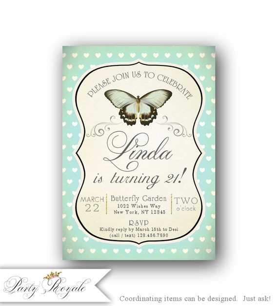 21st Birthday Invitations 21st Birthday Party Invitations Etsy