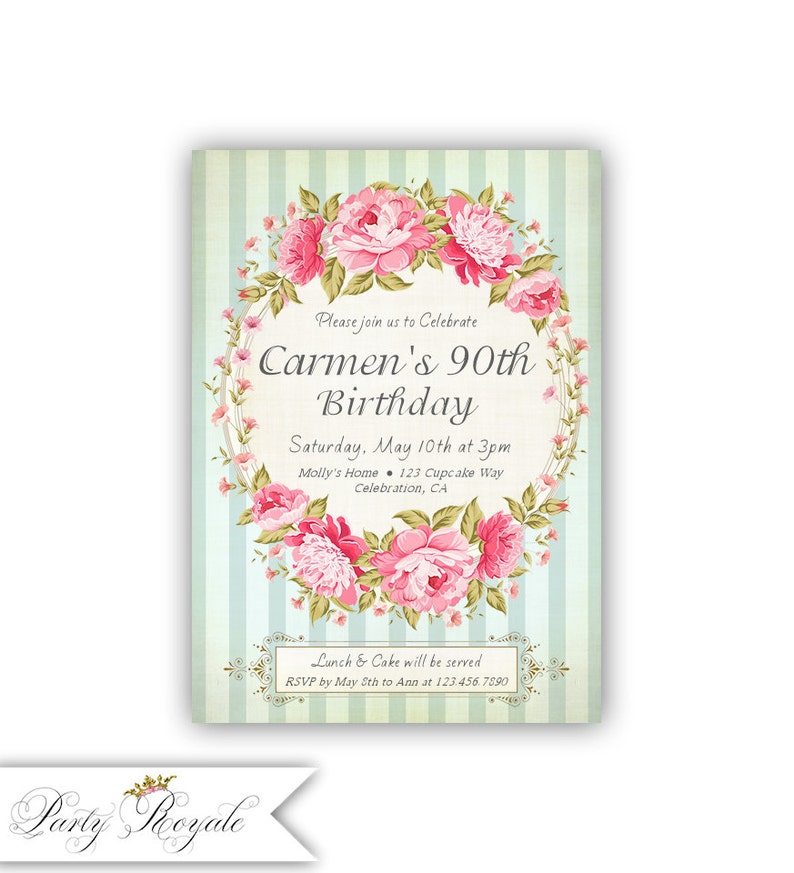 Sweet 90th Birthday Invitations Womens Milestone