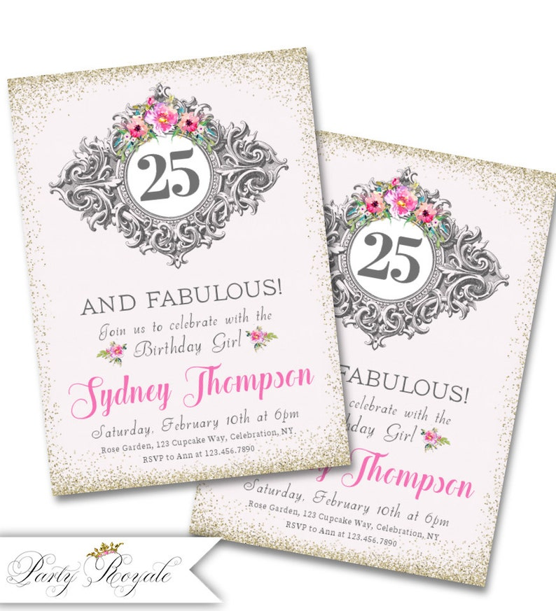 Adult Birthday Invitations For Her 25th Party