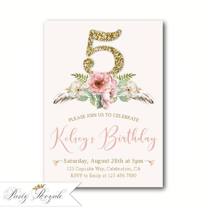 Girls Birthday Invitations Chic 5th Party