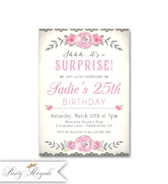 Surprise 25th Birthday Invitations For Her