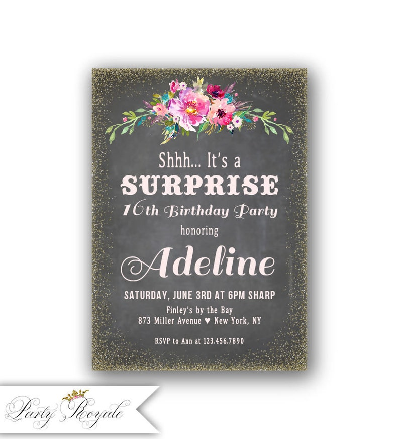 SURPRISE 16th Birthday Invitations For A Girl Pink And Gold