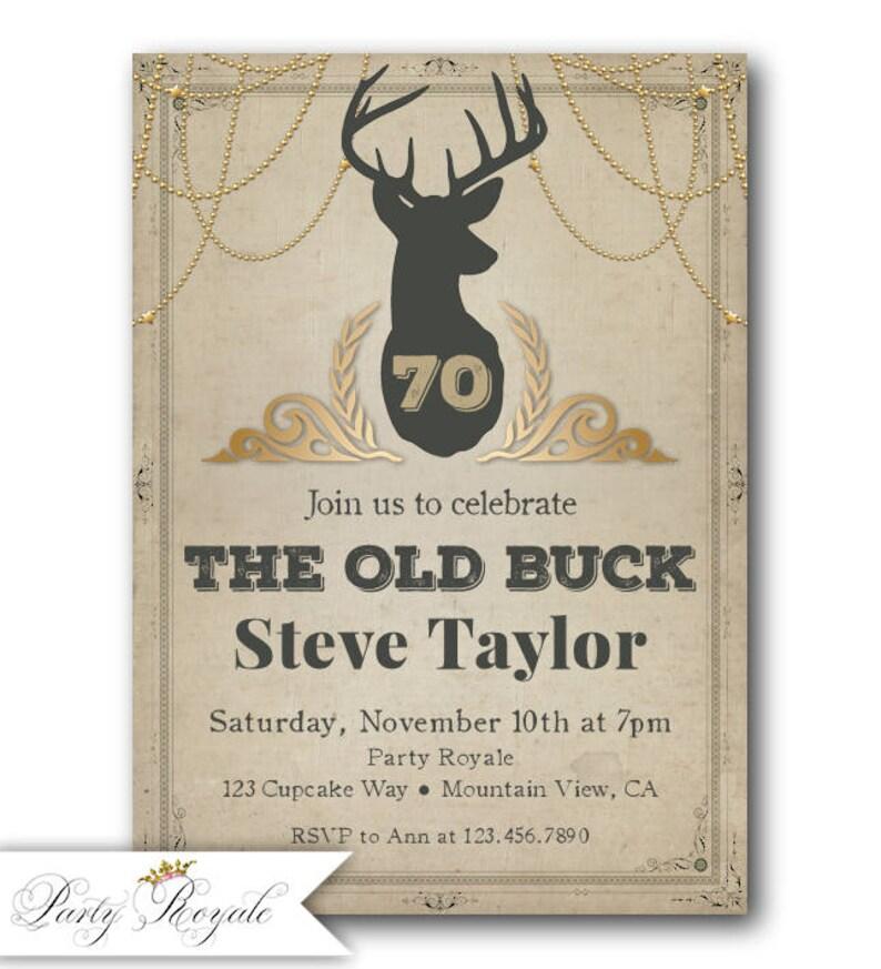 Mens 70th Birthday Invitations Hunting Theme Old Buck