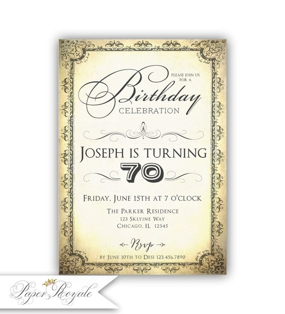 70th Birthday Invitations Printable Invites