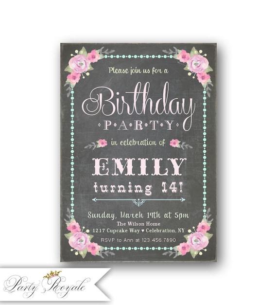 Teens 14th birthday invitations girls 14th etsy image 0 filmwisefo