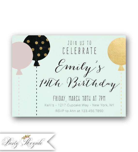 Girls 14th birthday invitations pastel 14th birthday etsy image 0 filmwisefo