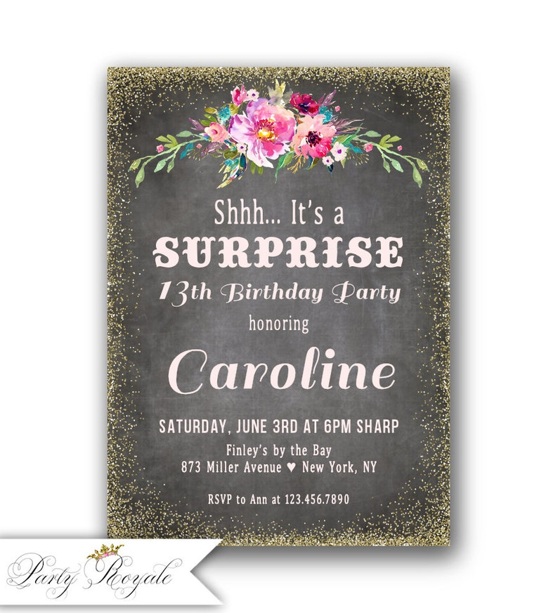 Surprise 13th Birthday Party Invitations Teenage Girls