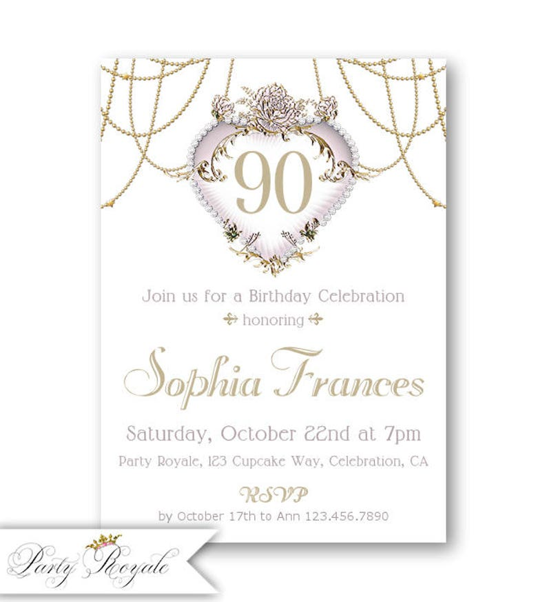 Elegant 90th Birthday Invitation For Women Printed Or