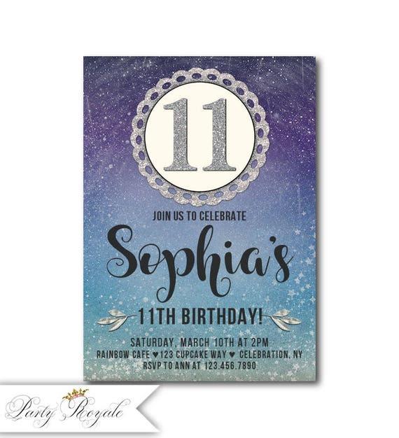 birthday invitation tweens 11th birthday invitation girl etsy