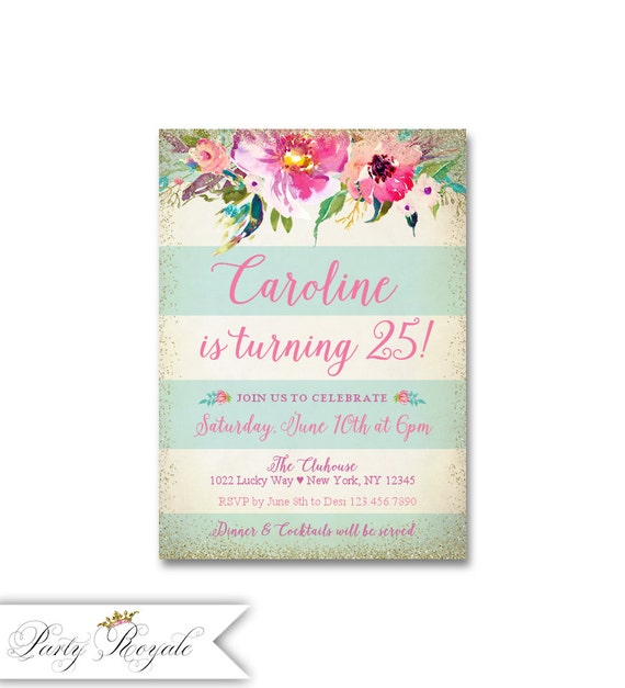 Gold Glitter 25th Birthday Invitations Adult Party