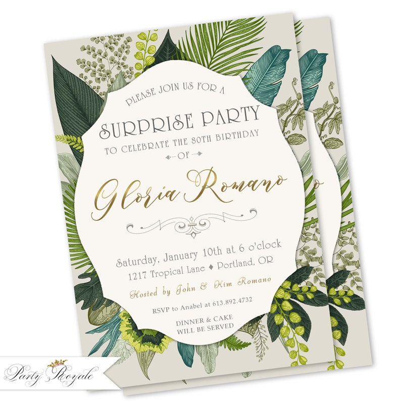 Tropical Surprise Birthday Invitations Womens 40th 50th