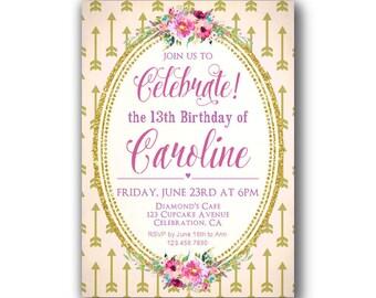 17th birthday invite Etsy