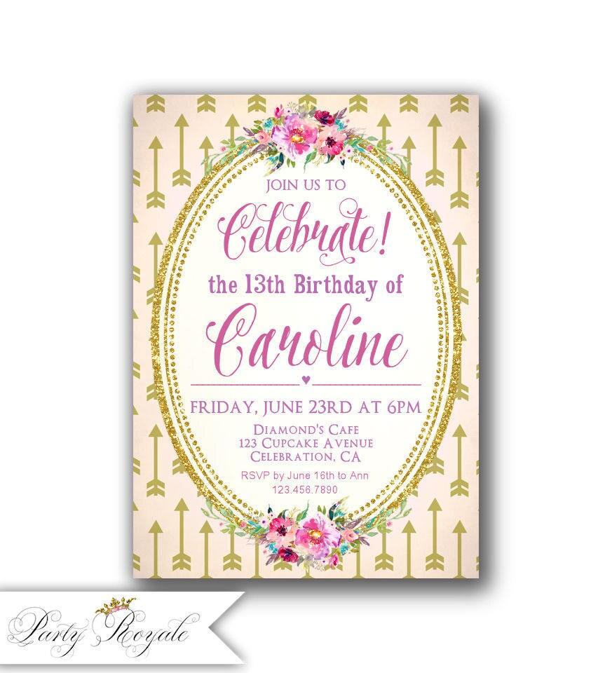 Boho 13th Birthday Invitations / Teen Girls Birthday Party | Etsy