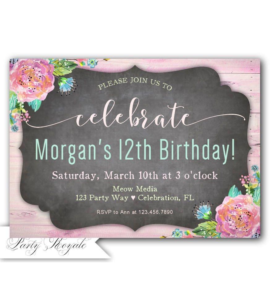 Tween Geburtstags Einladung 12 Geburtstag Einladen 12 Etsy