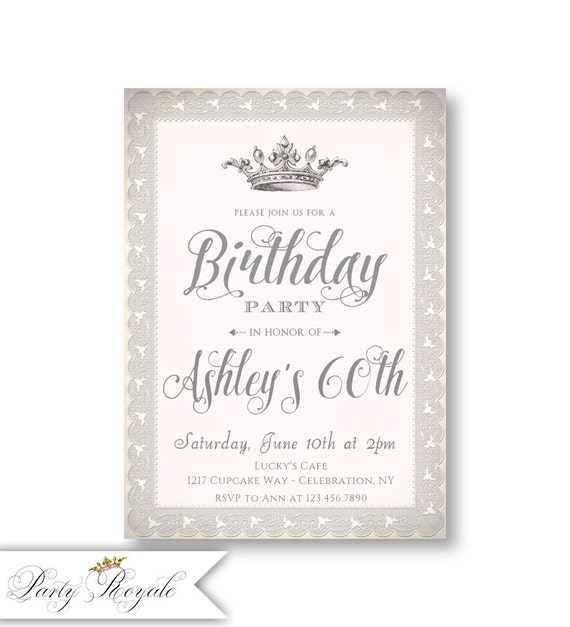 Crown 60th Birthday Invitations For Women Princess Queen Tea